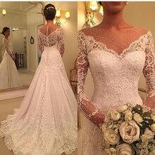 Wuzhiyi באיכות גבוהה vestido דה noiva סירת צוואר תחרת applique חתונת שמלת רוכסן כפתור חזרה שמלת נישואי 2019