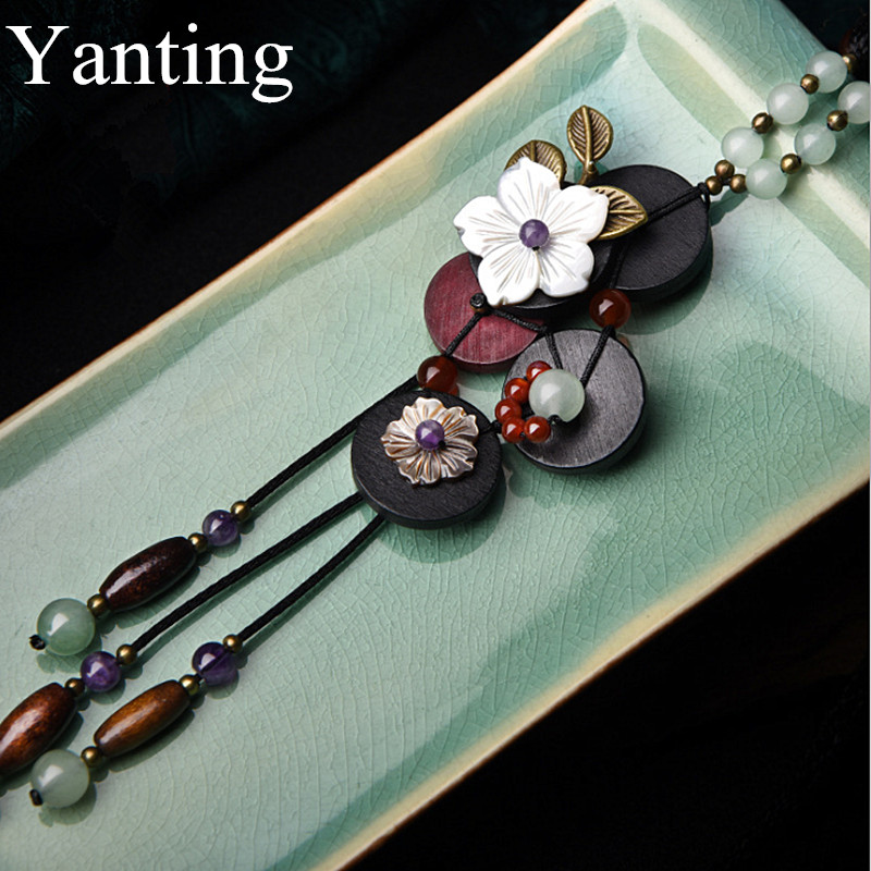 Yanting Long Boho Necklace Women Statement Necklace Shell Flower Colorful Natural Stone Necklaces For Women Wood Accessories 037