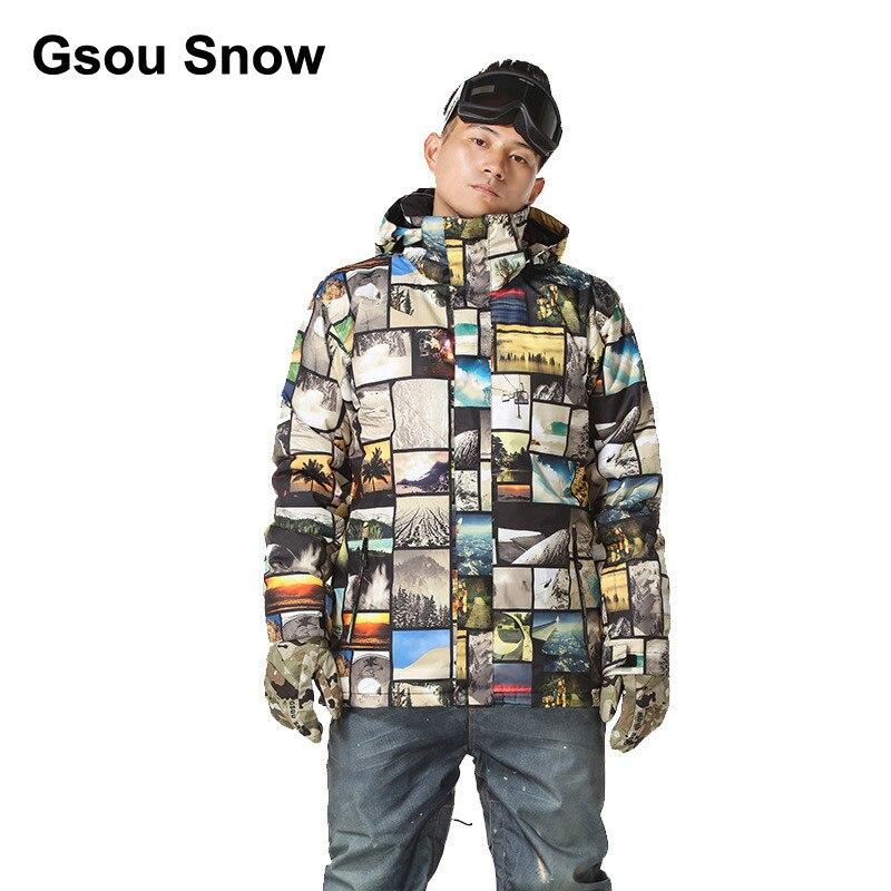 Prix pour Gsou Snow Hommes Étanche Ski veste escalade costume photo impression snowboard Porter Coupe-Vent d'hiver sport Top Chaud Up 1416-060