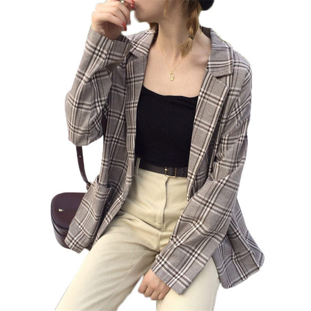 Casual Women Blazer Jacket 2019 Spring New Korean Loose Plaid Long-sleeve Blazer Femme grand taille Shirt Suit Thin Coat f548