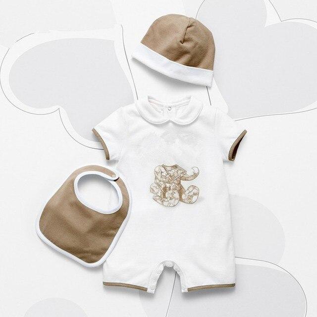 2016 fashion Summer Style 100% Cotton unisex baby boy girl clothes Newborn baby Romper + hat + Bibs sets 3M 6M 9M baby jumpsuit