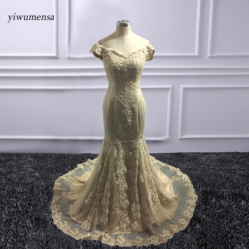 vestidos de graduacion   Prom     dress   2018 Gold Appliques Lace Long Mermaid   Dresses     Prom   Custom made Plus size Color   Prom   Party Gown