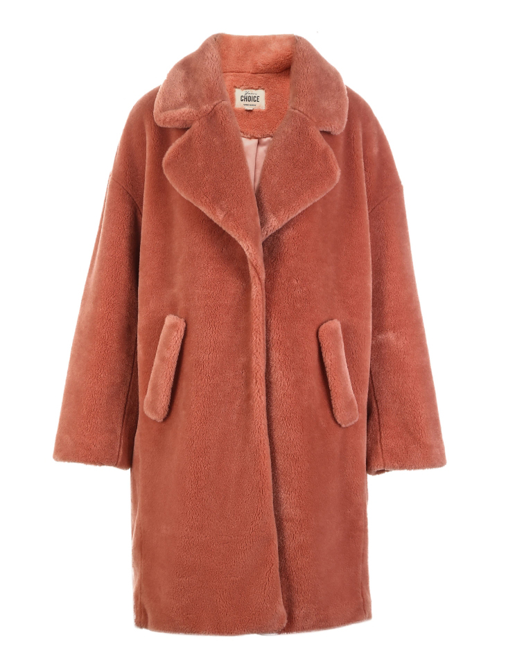 Vero Moda lapel drop shoulder long teddy bear winter coat jacket | 318309503 27