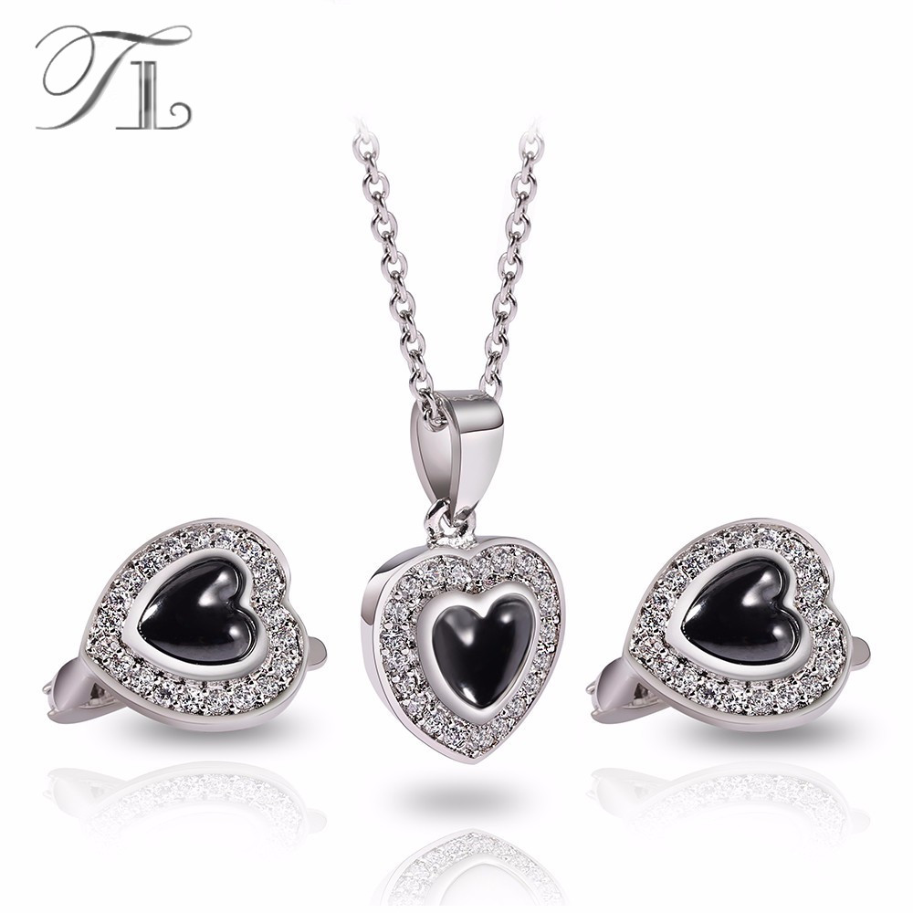 TL Fashion Ceramic Jewelry Set Solid Silver Heart Stainless Steel Necklaces & Earrings Luxury Design Party Wedding Jewelry Set tl love heart earrings for women stainless steel silver hot earrings simple design open cross earrings