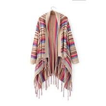 Винтажные свитера в этническом стиле с неровным подолом, кардиган для женщин, цветная Вязаная Шаль с кисточками, свитер, верхняя одежда, свободная вязаная одежда