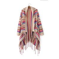 2017 Vintage Ethnic Style Irregular Hem Sweaters Cardigan Women Colorful Tassel Knitting Shawl Sweater Outwear Loose