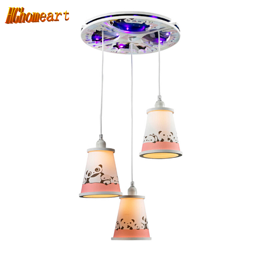 Hghomeart Kids Led Ceiling Lights Bedroom Living Room E27 110V-220V Children Home Decor Lights Lustre Lighting Fixtures Ceiling 3 head acrylic shade kids room wooden children ceiling lights led e27 bulb 110v 220v led ceiling light fixtures lustre luminaire