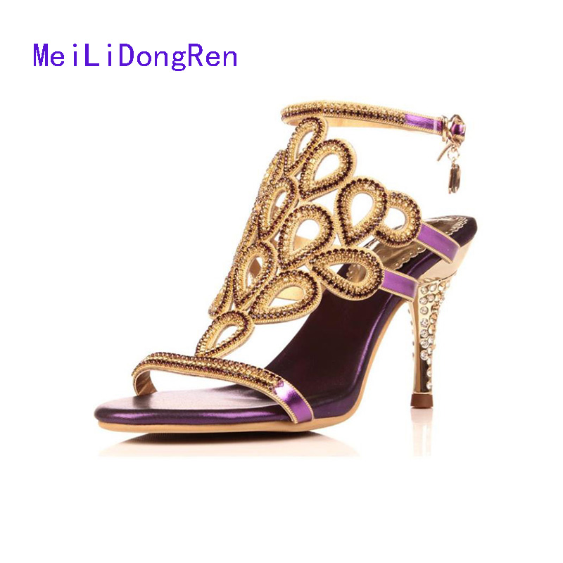 2017 Genuine Leather Crystal Women High Heel Sandals Leather Summer Shoes Pump Gold Sandals Open Toe Ladies Slippers summer women leather high heeled shoes sandals rhinestone pump sandals ladies open toe slippers plus size 33 41