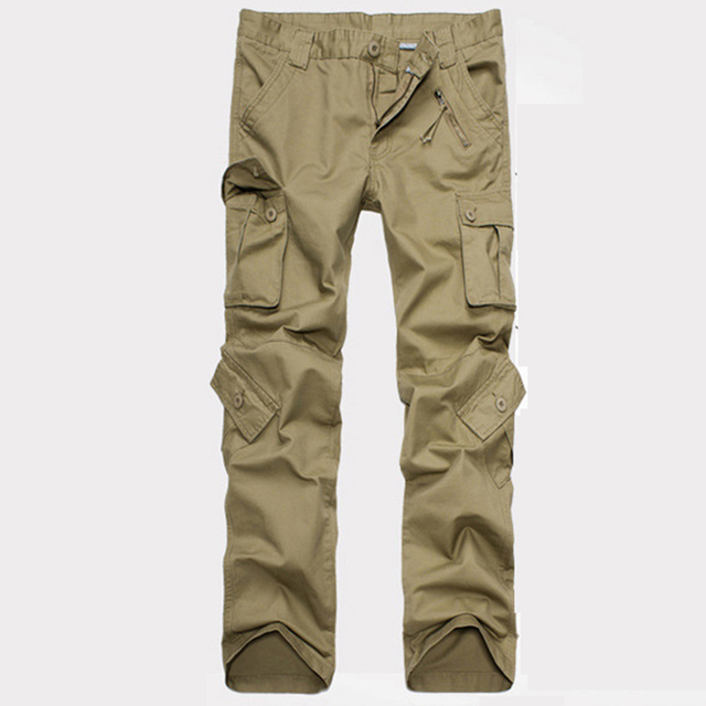 2016 nuevo de alta calidad de gran tamaño para hombre pantalones con bolsillos overoles multibolsillos pantalones de camuflaje ropa militar hombres de la moda