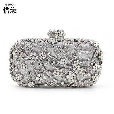 XIYUAN BRAND Fashion Lady Party Wedding silver Handbag Purse Girl hard Evening shoulder Bag Bridal Women Crystal Clutch wallet
