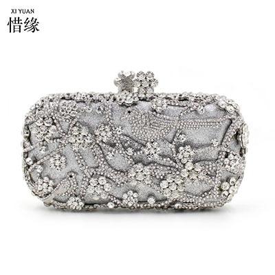 42aa44856c XIYUAN BRAND Fashion Lady Party Wedding silver Handbag Purse Girl hard  Evening shoulder Bag Bridal Women Crystal Clutch wallet
