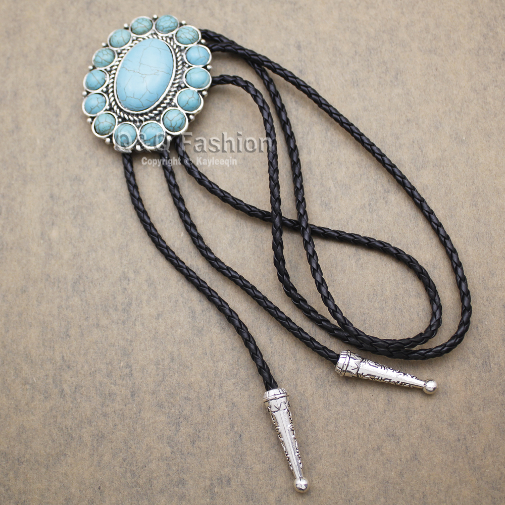 New Arrival Fashion Southwest Silver Indian Turquoise Zuni Navajo Leather Neck Bolo Tie Line Dance High Good Quality Jewelry Apparel Accessories