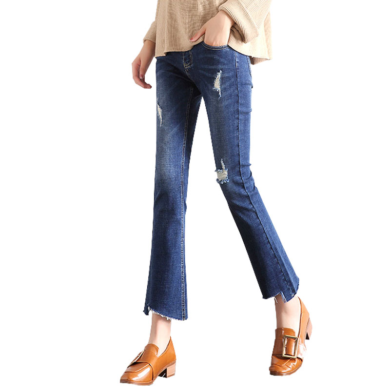 Denim Bell-bottomed Pants Jeans For Pregnant Women Clothes Maternity Jeans Pregnancy Pants Prop Belly Abdominal Gravida Trousers