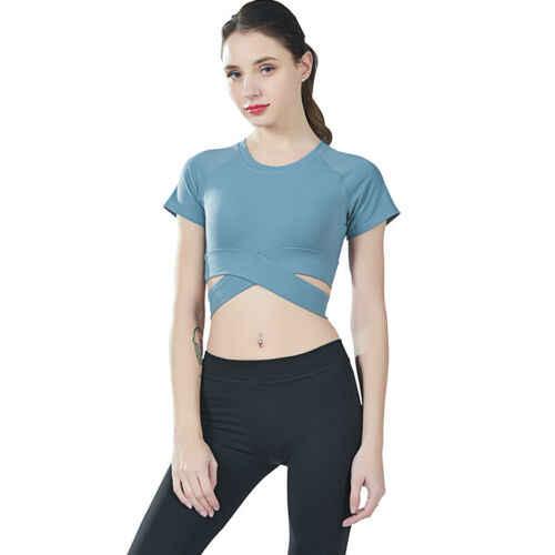 Joga przycięte sportowej kobiet Workout Sport Gym Running Fitness Jogging topy