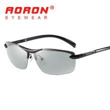 AORON Men Photochromic Polarized Sunglasses Discoloration Goggles Male Aluminum Polaroid Eyewear Anti Glare HD Driving Glasses