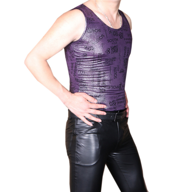 b5f6b4e61b14c LinvMe Men Sexy Slim Faux Leather Tank Top Printing Sleeveless Stretchy  Undershirt