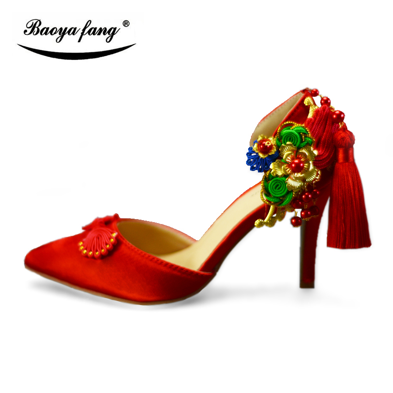 New Red color Summer Sandals Women Wedding shoes 8cm thin heel party shoes pointed toe woman dress shoes China style tassel