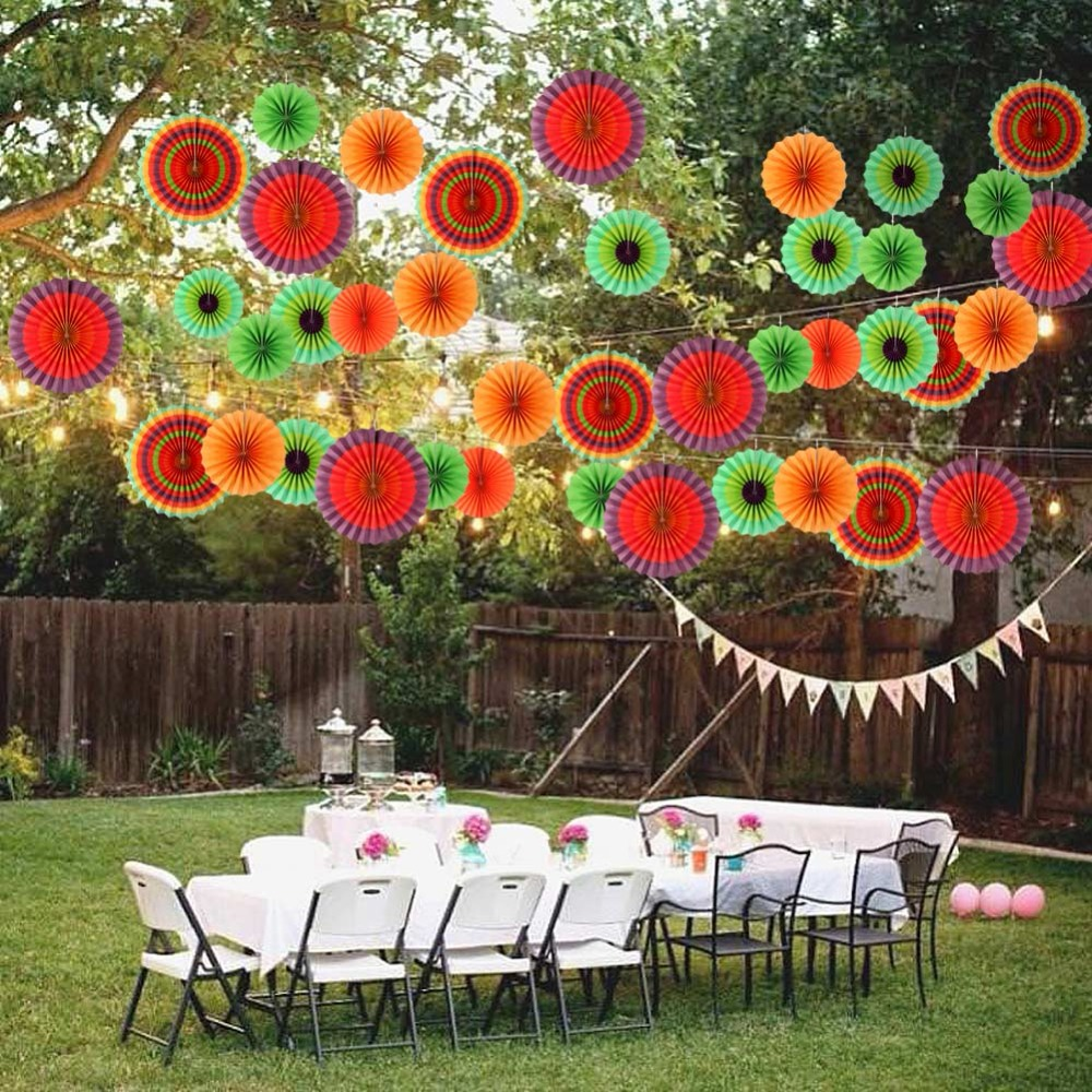 Ourwarm 24pcs Paper Fan Mexican Party Decorations Cinco De Mayo