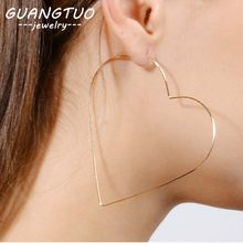 Fashion Big Hollow Heart Shaped Hoop Earrings For Women Personality Exaggerated Female Brincos Nice Jewelry Gift Wholesale EB543(China)