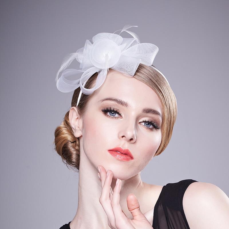 2017 Newest Flowers Wedding Hats Bridal Hair Accessories Applique Linen Tulle Floral chapeau mariage for Brides