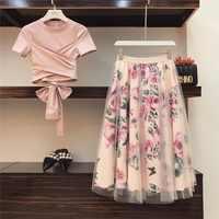 Haute qualité femmes irrégulière t-shirt + maille jupes costumes nœud solide hauts Vintage jupe florale ensembles élégant femme deux pièces ensemble