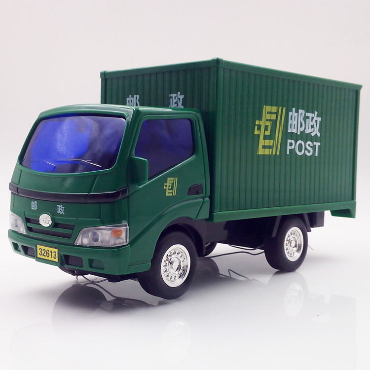 SAINTGI 1pcs China Post Car TOY Truck Garbage Pull Back Open Door ABS 26CM Classical Miniature Cargo Boys Model Collection Gift china post 2014 10