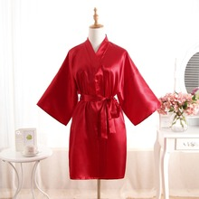 Sexy Silk Bridesmaid Bride Robe Women Short Satin Wedding Kimono Robes  Sleepwear Nightgown Dress Woman Bathrobe 43d716424