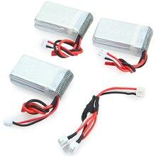 3pcs 7.4V 1000mAh Battery Remote Control Drone Model Spare Parts Accessories For WLtoys V912 V915 MJX X600 Set