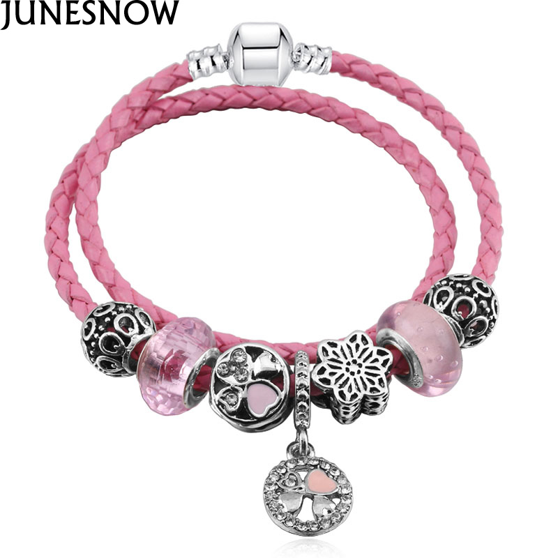 JUNESNOW Original Luxury Brand Pink Caystal Beads Charm Leather Bracelets Fit European Women DIY Pandora Bracelet Jewelry