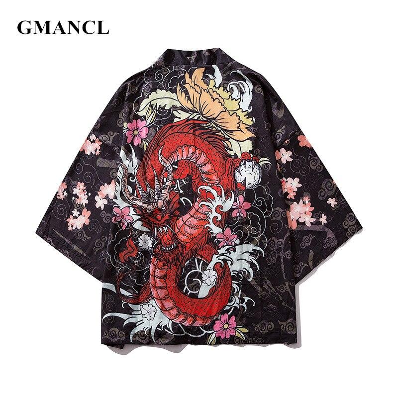 2019 New Men Streetwear Japanese Retro Style Thin Cardigan Jackets Fashion Chinese Dragon Printed Hip Hop Casual Kimono Coats