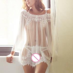 Nuevo conjunto de lencería Sexy ropa de dormir de encaje de moda Tanga para mujer ropa interior erótica Babydoll ropa de dormir Sexy pijama Perspectiva de malla
