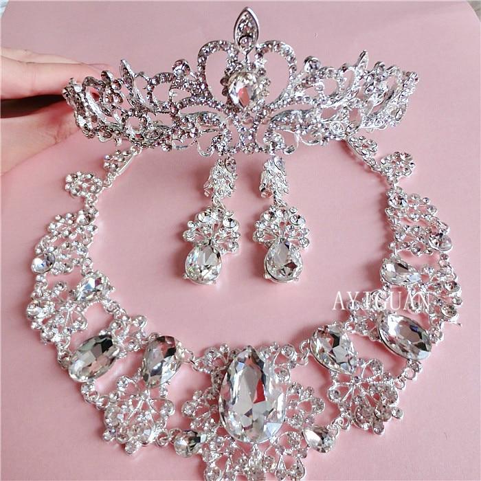 Continental white rhinestone necklace earrings bri...