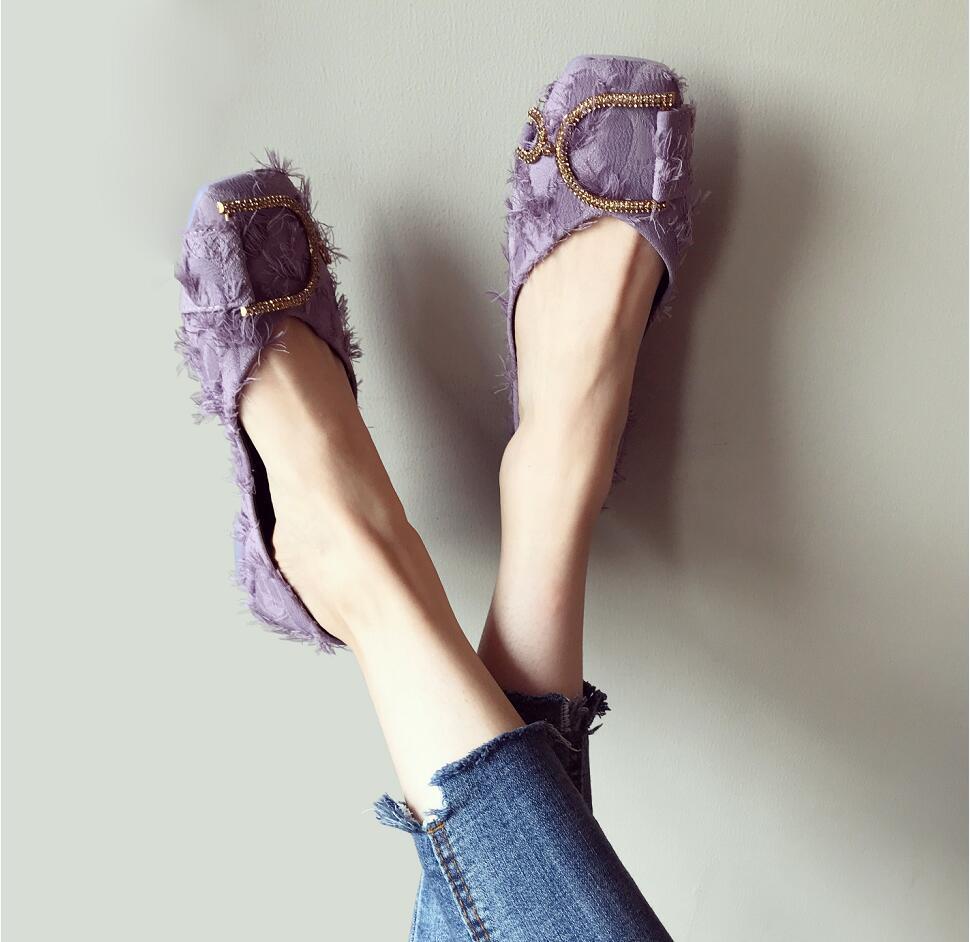 Ballet Flats Cuadrados 35 Soft Las Grande Ocasionales Sólidos De Colores Del Moda Bottom Tamaño púrpura Señoras Pie Zapatos 42 Planos Negro Diseño Cristal Dedo Mujeres Nueva zTxnvFq6