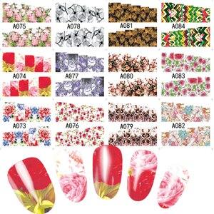 Image 5 - 48Pcs Hot Water Transfer Ontworpen Nail Sticker Blossom Bloem Kleurrijke Volledige Tips Stempel Decals Nail Art Schoonheid A049 096SET
