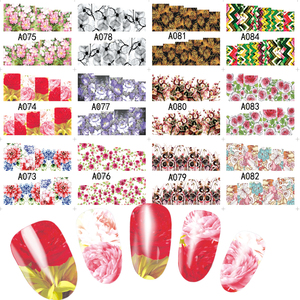 Image 5 - 48pcs Hot Water Transfer Designed Nail Sticker Blossom Flower Colorful Full Tips Stamp Decals Nail Art Beauty A049 096SET