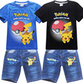summer pokemon go 2016 Children Girls Boys Cartoon sets Costume Clothing set for Kids Clothes Girls shorts T-shirts+Jeans pants