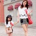 Лето стиль babymmclothes соответствия мать и дочь дети одежда одежда комплект hello kitty мама и я одежда t