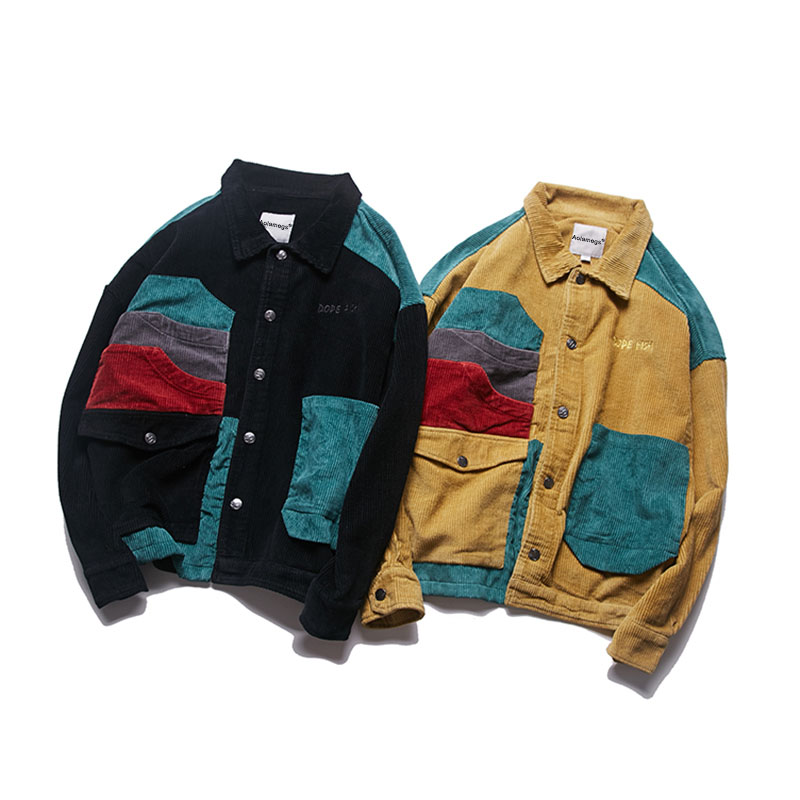 Aolamegs Jacket Men Corduroy Patchwork Men`s Jacket Pockets High Street Fashion Casual Outwear Men Coat 2018 Autumn Streetwear (10)