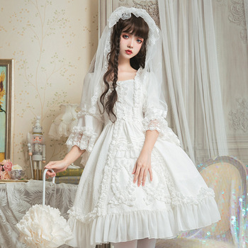 Women Lolita Retro Dress Lace Flower Ruffle Dresses Flare Half Sleeve Wedding Cosplay luxurious Ladies Dresses T698