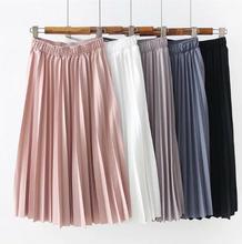 2019 秋の女性ハイウエストスカート無地プリーツスカート女性因果ミディスカート白スカート