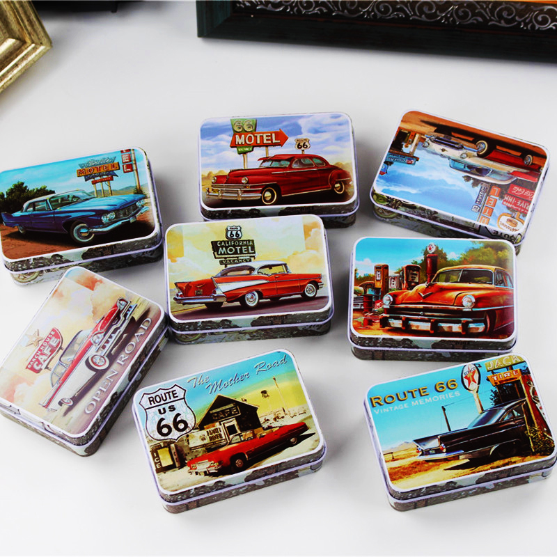 European Style Tin Box Jewelry Candy Case Mac Cosmetics Organizer Vintage Lipstick Box For Girl 16 Pieces/Lot Tea Container