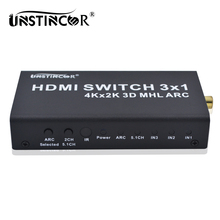 4K HDMI Switch 3X1 4X1 Switcher Support MHL ARC Audio Separation HDMI 1.4 4K*2K Converter for PS4 PC to HDTV Premium Version