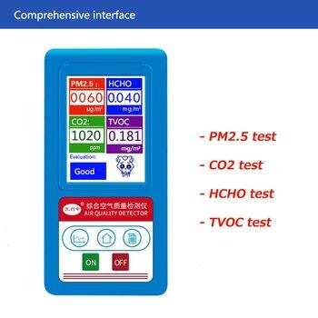 Digital Air Quality Monitor HCHO TVOC PM1.0 PM2.5 PM10 Detector CO2 Meter Formaldehyde Carbon Dioxide Monitor Gas Analyzer