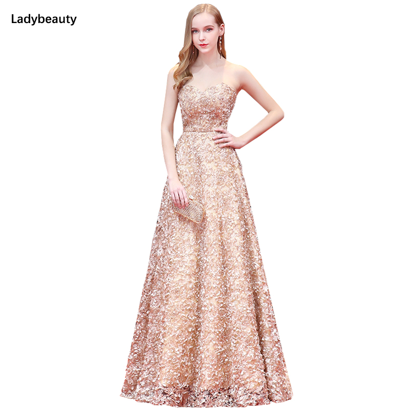 2019 New Fashion Robe de Soiree Long Prom Dresses Sexy Sweetheart Lace Floral Flower Sash Formal
