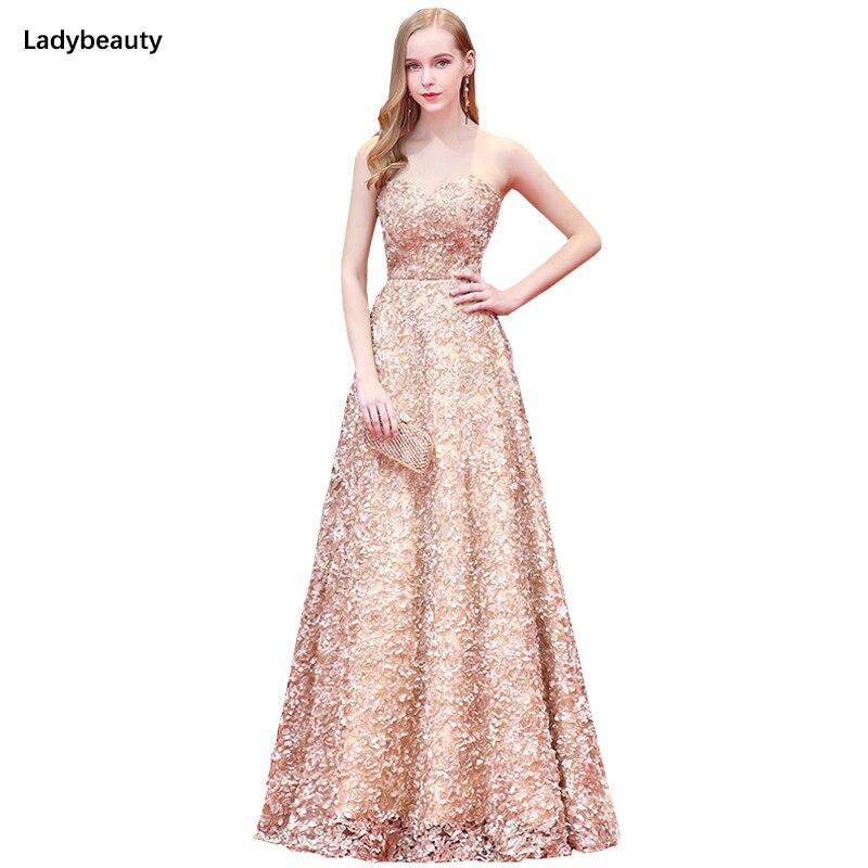 2019 nouvelle mode Robe de soirée longues robes de bal Sexy chérie dentelle Floral fleur ceinture formelle Robe de soirée robes de soirée