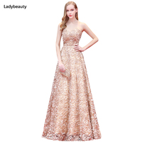 2017 New Fashion Robe De Soiree Long Prom Dresses Sexy Sweetheart Lace Floral Flower Sash Formal