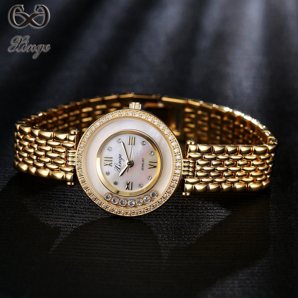 цены Xinge Brand 2017 Hot Sale Crystal Diamond Rolling Bracelet Women Watches Luxury Fashion Ladies Gold Quartz-watches Dress Clock