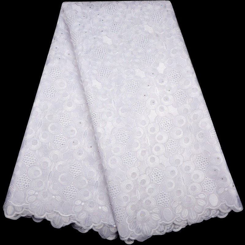 White High Quality Swiss Voile Laces Switzerland Cotton African Dry Cotton Lace Fabric 2018 Nigerian Man or Women Voile Lace-in Lace from Home & Garden    1