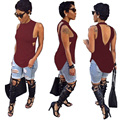 Mujeres Tops Moda 2017 Del Verano Mujeres Sin Mangas Atractivo Del O-cuello sin espalda con Espalda Abierta Largo Camis T Shirt Ladies Tops Sólidos Tee