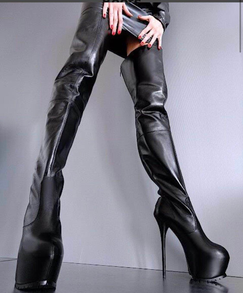 Winter shoes women black leather thigh
